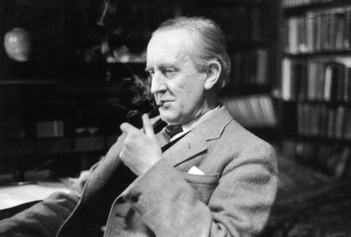 John Tolkien thoughtfully smoking