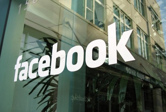 Facebook Logo at the entrance to the building