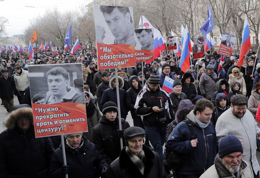 March of memory of the second anniversary of the murder of Boris Nemtsov. EPA/MAXIM SHIPENKOV