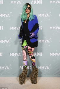 Lady Gaga wearing shoes from Mr Tatehana on music awards 2011