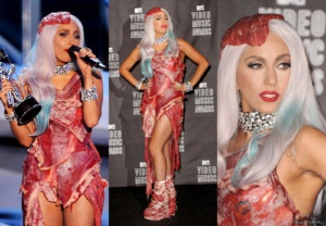 Lady Gaga in a dress made of meat at the MTV Video Music Awards 2010