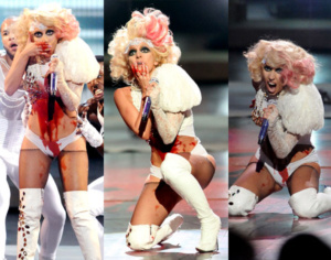 Lady Gaga doused artificial blood at the 2009 MTV Video Music Avards