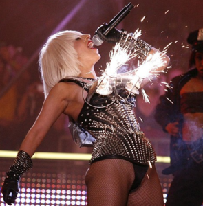 Lady Gaga in the famous Flaming Bra at the concert