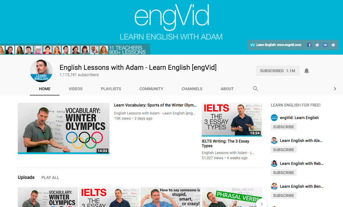 Канал English Lessons with Adam