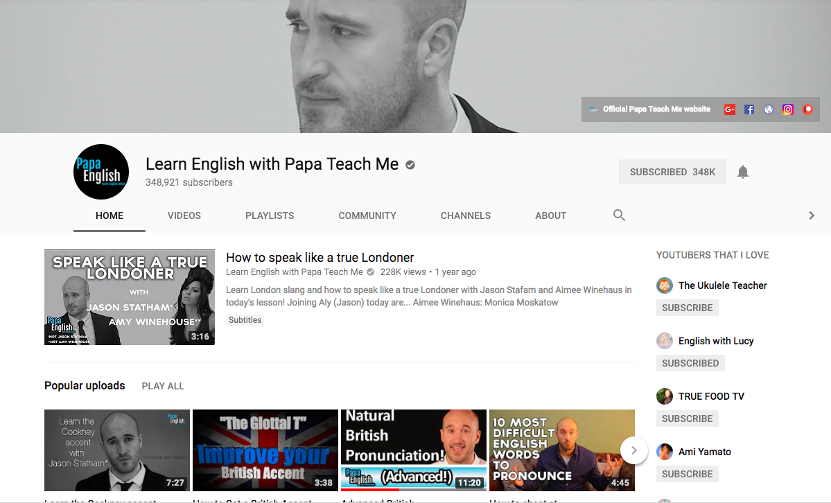 Канал Learn English with Papa Teach Me