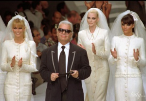 Legendary couturier and supermodels of the 90s at the Chanel show
