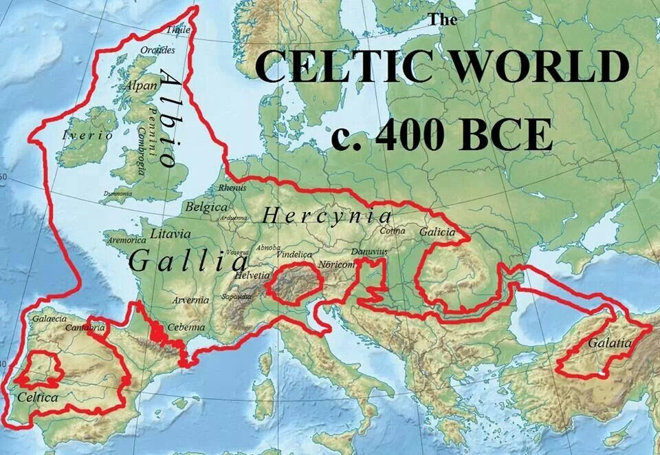The area setteled by the Celtic tribes B.C.