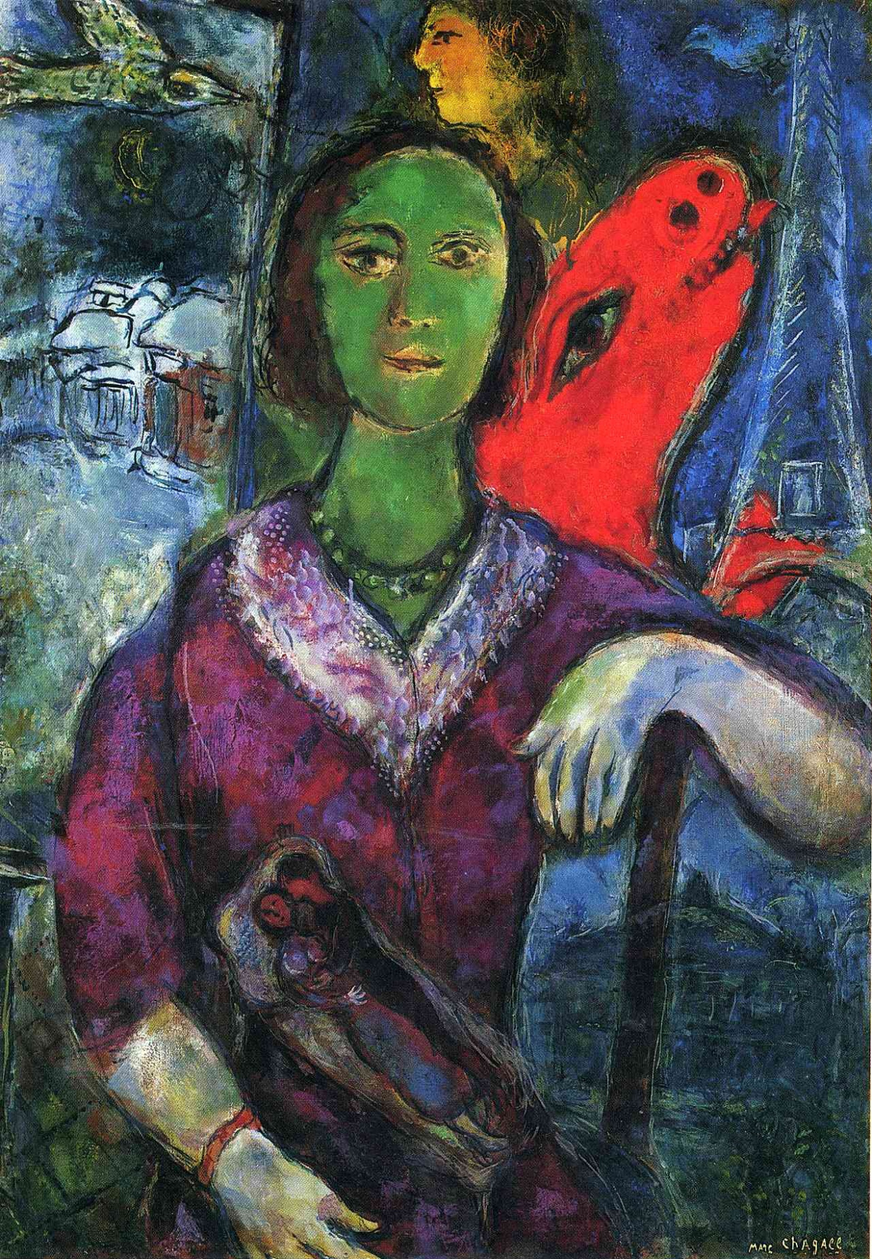 """Portrait of Vava"" was created in 1966 in Paris. You can the Eiffel Tower at the top right and The Paris Opera at the bottom"