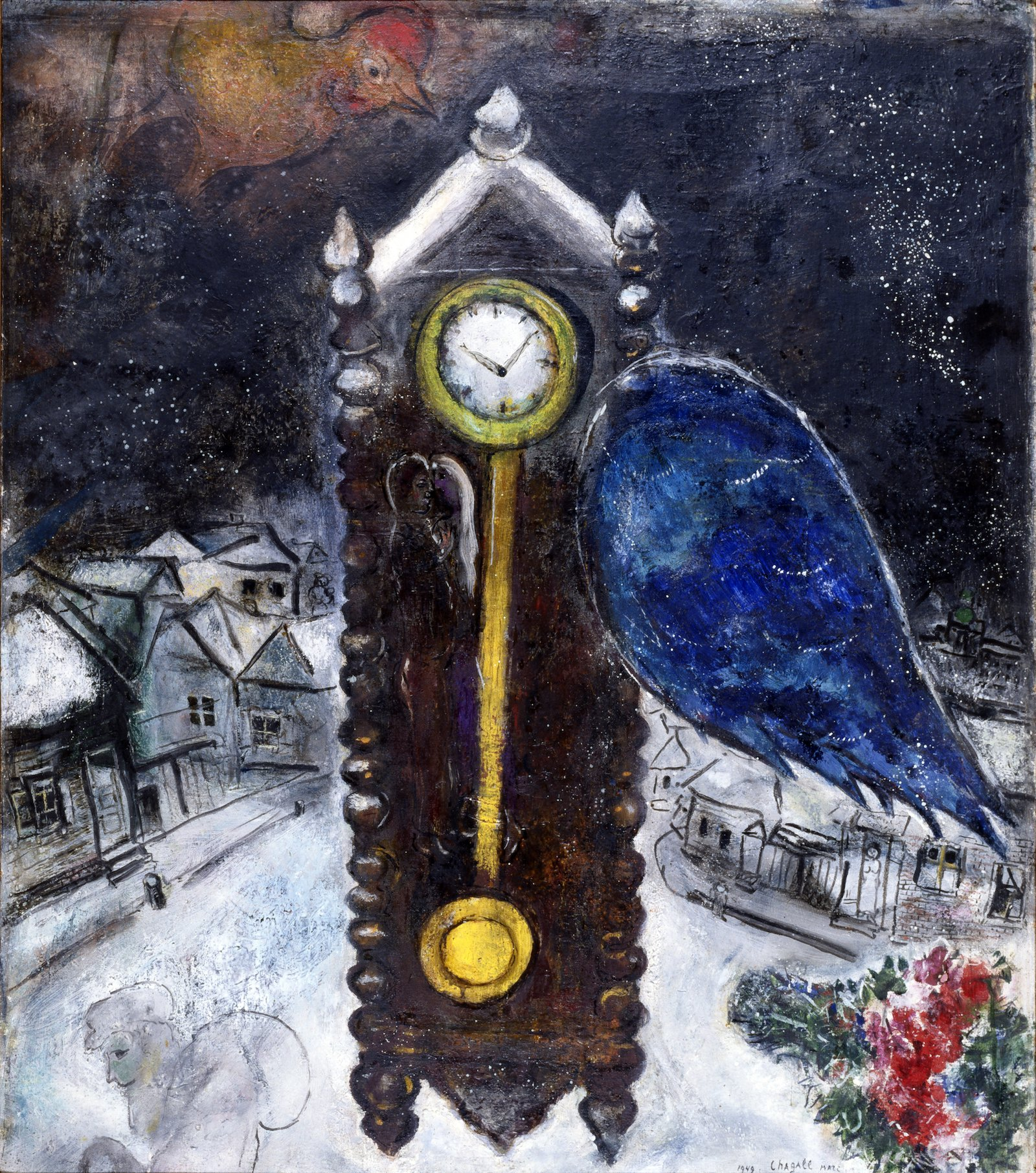 «Clock with Blue Wing», created in 1914. Private collection in Paris