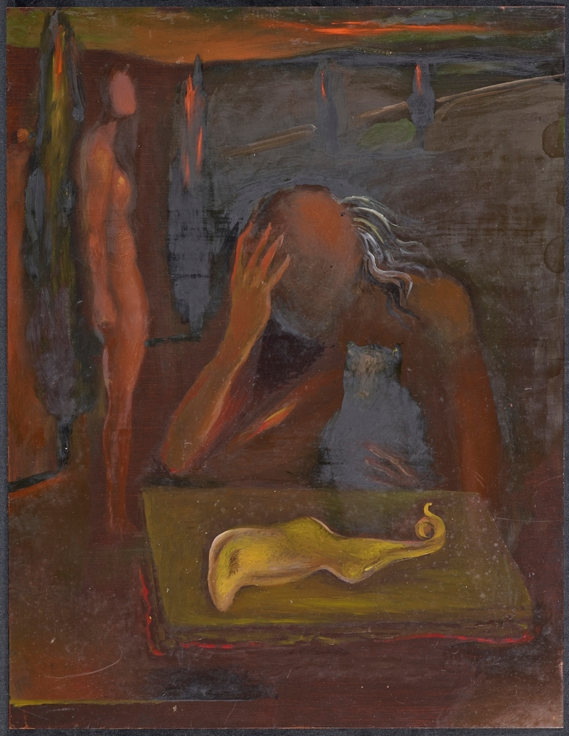 Seated Figure Contemplating a 'Great Tapeworm Masturbator', 1981