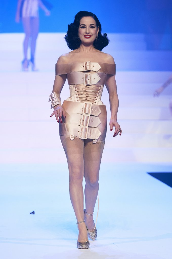 Dita Von Teese was wearing a dress made of bandage belts during the Jean-Paul Gautier show