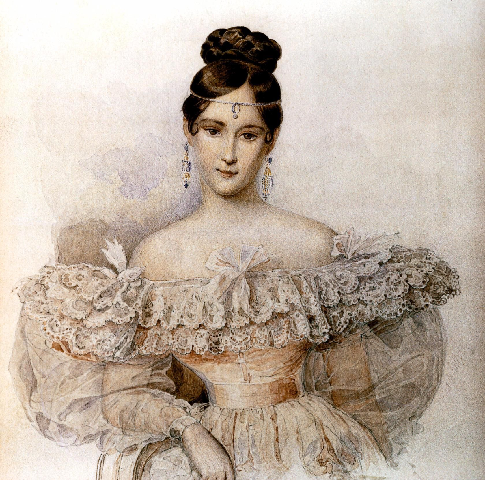 Natalya Nikolaevna Goncharova, the bride and then the wife of Alexander Sergeyevich Pushkin