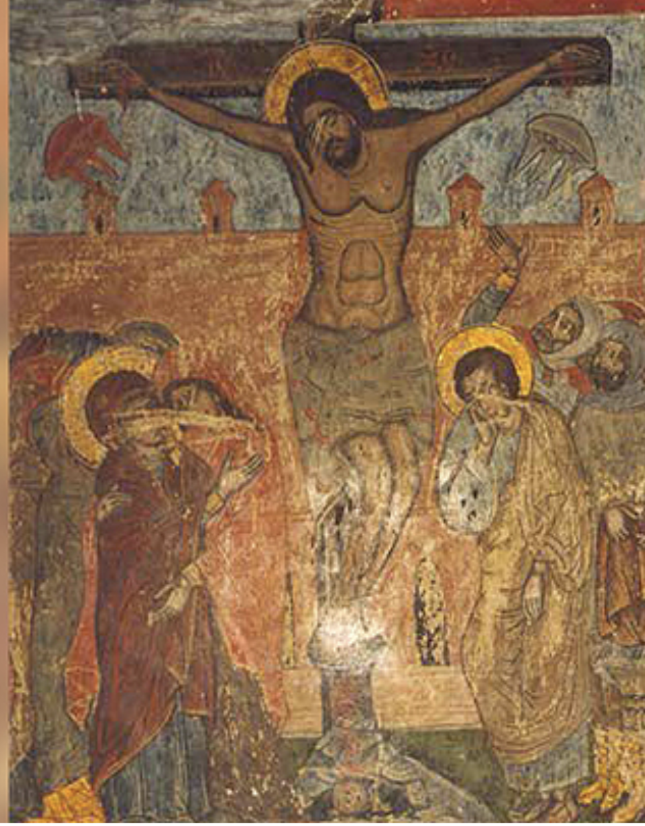 """Crucifixion of Jesus"" on the walls of the Svetitskhoveli Cathedral, Georgia (11th century)"