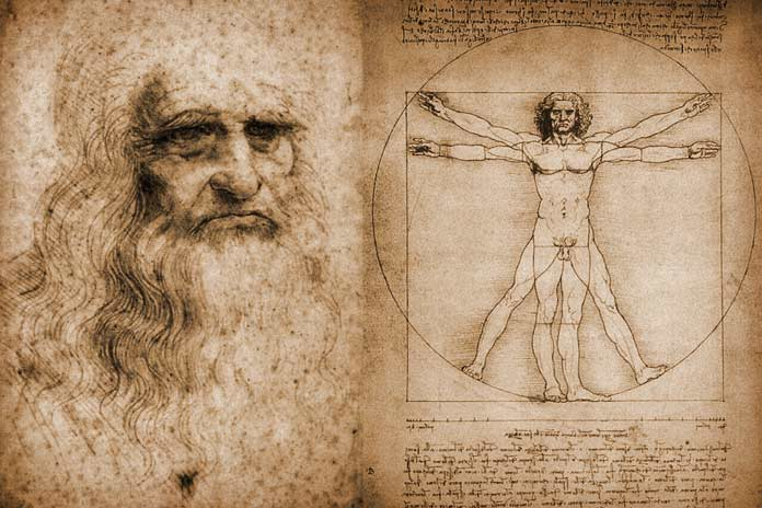 Leonardo da Vinci's drawings: Portrait of a Man in Red Chalk (left) and Vitruvian Man (right)